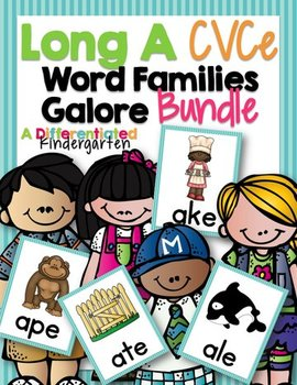 Long 'A' CVCe Word Family Word Work Galore Bundle-Differentiated/Aligned