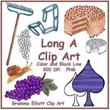 Long A Words Clip Realistic Art  300 dpi PNGs