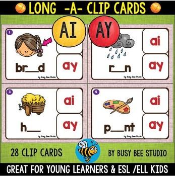 Long A Clip Cards (ai, ay)
