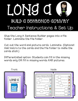 Long A File Folder Games and Activities