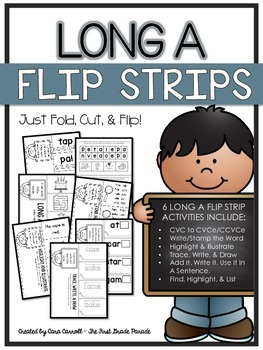 Long A Flip Strips - 6 Magic E/CVCe/CCVCe Cut, Fold, & Flip Activities