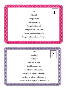 Long A Fluency Cards