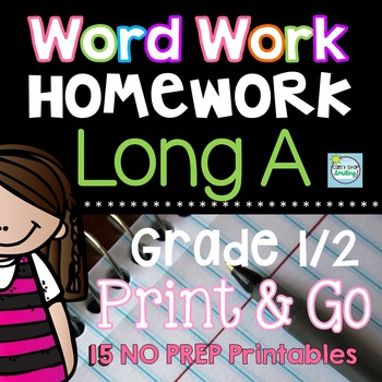 Long A Word Work Printables and Activities~ Long Vowels Homework or Morning Work