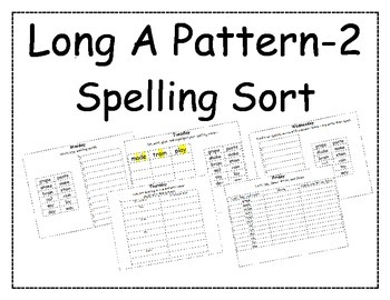 Long A Pattern Spelling Packet 2