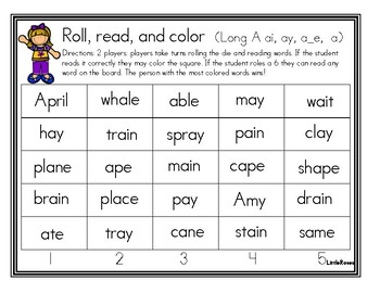 Roll, Read, and Cover Long A Patterns
