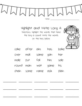Long A Phonics Activity Pack