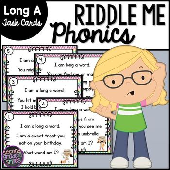 Long A Phonics Riddle Task Cards