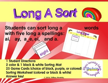 Long A Rainbow Sort with Spelling Patterns: ai, ay, a_e, ei, a Literacy Center