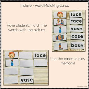 Long A Silent E Word Family Center