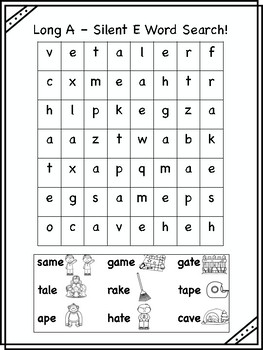 Long A - Silent E Word Searches