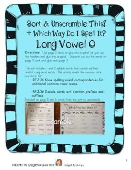 Long O: Sort This! Which Way Do I Spell It? Unscramble These!
