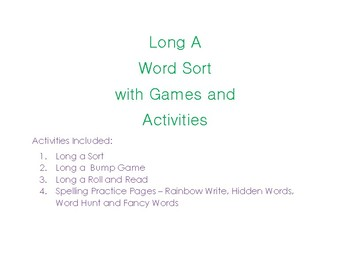 Long A Sort with Games and Activities