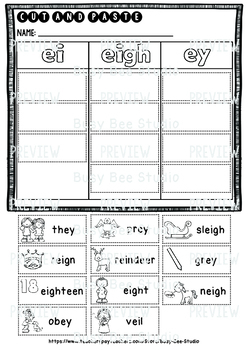 Long A Sorts: EI-EIGH-EY | Cut and Paste Worksheets