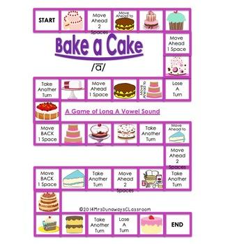 "Long A Sound File Folder Game ""Bake a Cake"""