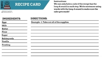 Long-A Sound Recipe Card