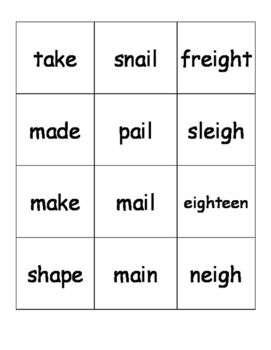 Long A Sound Word Sort