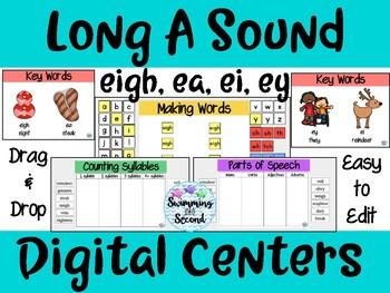 Long A Sound (eigh, ea, ei, ey) Digital Centers