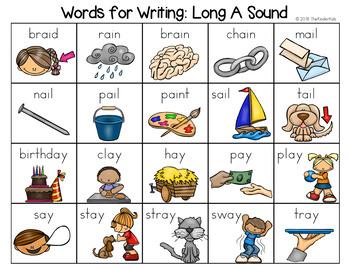 Long A Sounds Word List - Writing Center