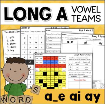 Long A Word Work Activities: Vowel Teams AY, AI, A_E