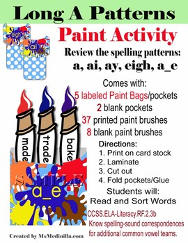 Long A Spelling Patterns: Paint Brush Sorting Activity Set