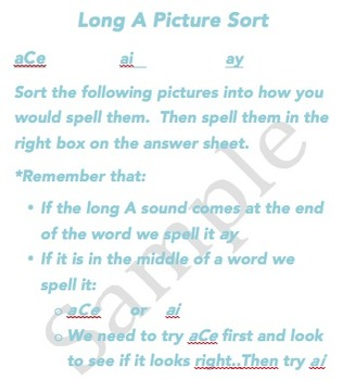 Long A Spelling Patterns Word Sort