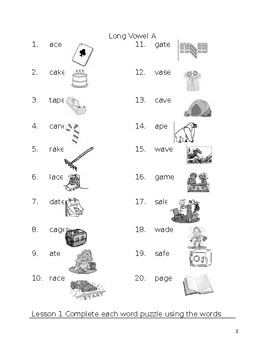 Long A Spelling and word cards
