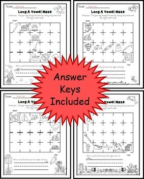 Long A Vowel Maze Practice Printables