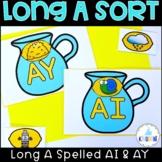 Long A Sort Vowel Pairs AY AI 1st Grade Literacy Center Su