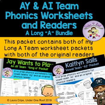 """Long A - Vowel Teams """"AY & AI"""" Worksheets and Phonics Reader Bundle"""