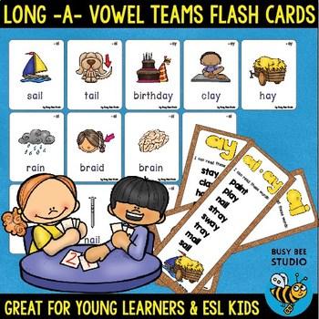 Long A Vowel Teams Flash Cards