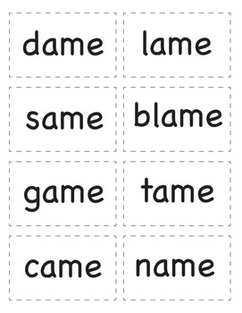 Long A Word Families Card Game