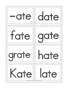 Long A Word Families Flash Cards