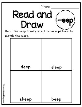 Long E Word Family Read and Draw- Pack 2