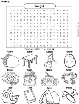 Long A Worksheet/ Long A Word Search by Science Spot | TpT
