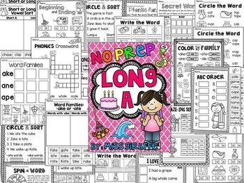 Long A Worksheets and Activities {NO PREP!}