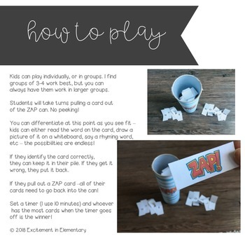 Long A - ZAP literacy game