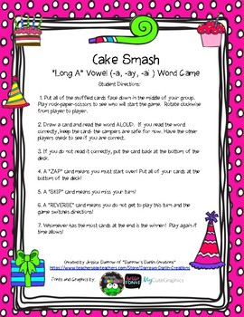 Long A (-a, -ay, -ai) Cake Party Word Game