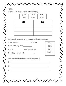"Long A ""ai"" and ""ay"" - Journeys Unit 4, Lesson 18 (2nd Worksheet)"