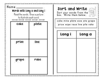 Long A and Long I Word Sorts and Word Work Activities: Print and Go!