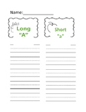 Long A and Short A Writing Sort