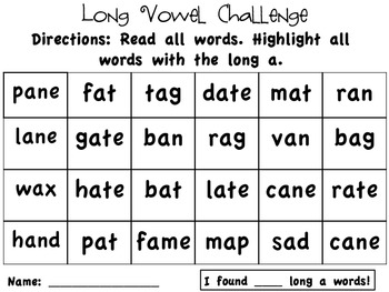 Long A: highlight a word activity