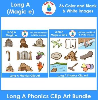 Long A (magic e) Phonics Clip Art Bundle