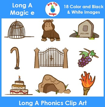 Long A (magic e) Phonics Clip Art Set 1