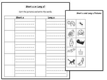 Long A vowel sound literacy center activities & worksheets