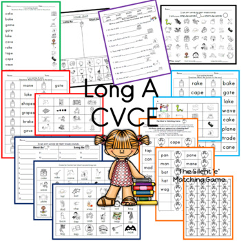 Long A  CVCE worksheets and center ideas