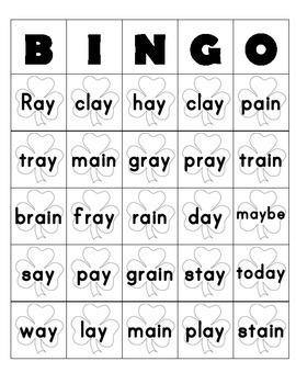 Long A (ay and ai) Bingo Game Boards