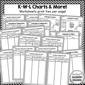 Long Ago and Today / Past and Present - Social Studies Half Sheets