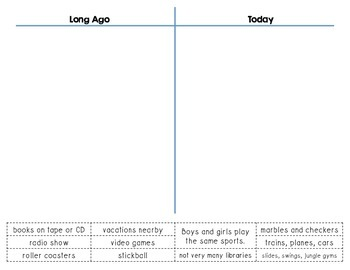 Long Ago and Today T-Chart Cut and Paste {Storytown Theme 3 Lesson 12}