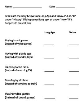 Long Ago vs Present Day Worksheet / History vs Current Times Worksheet