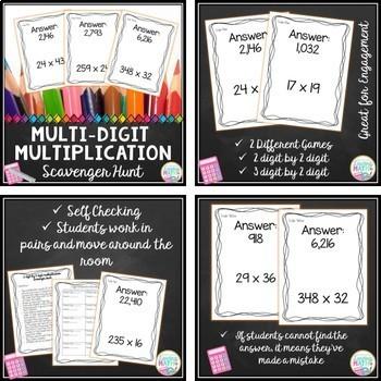 Long Division, 2 Digit Multiplication, Mixed Numbers - Scavenger Hunt BUNDLE